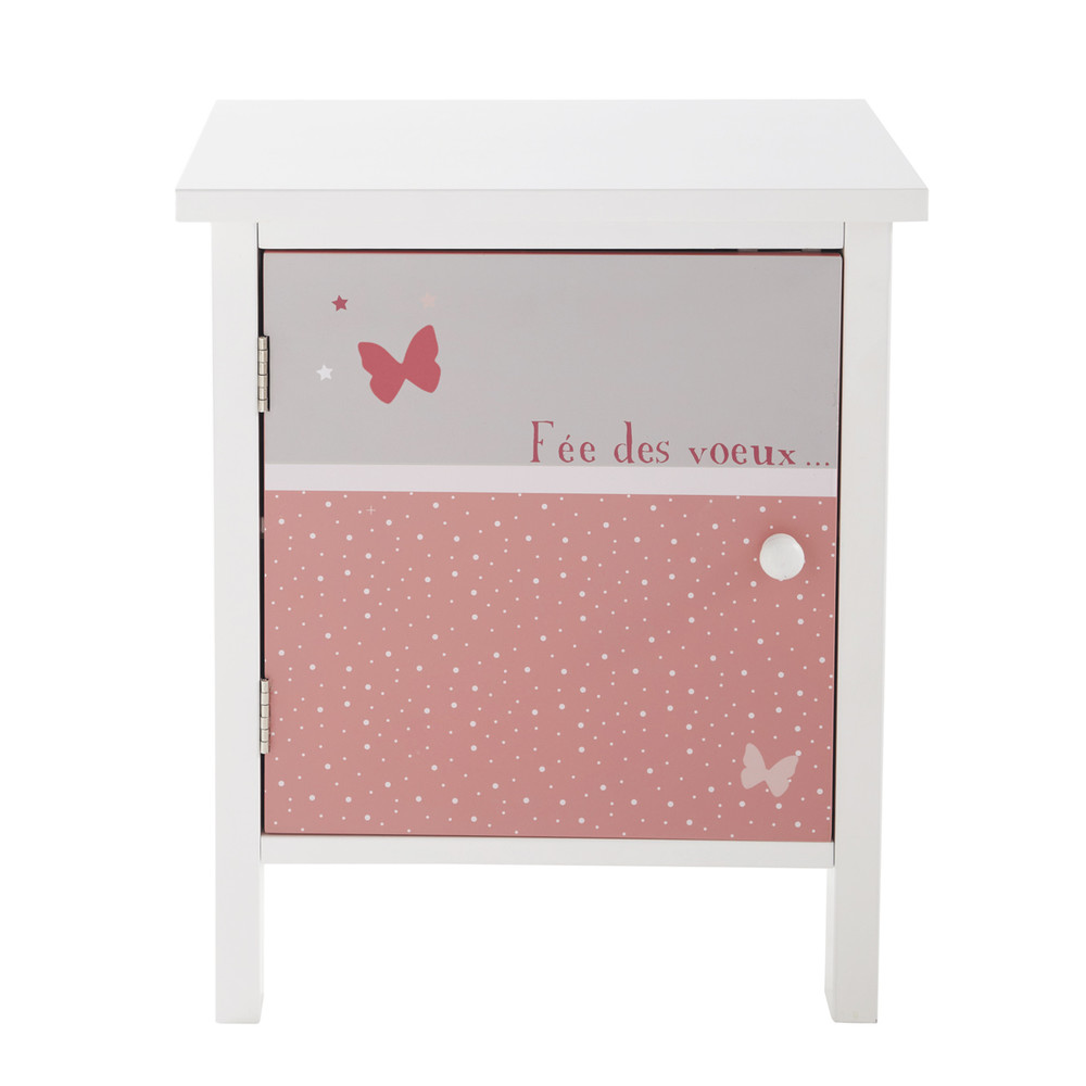 Wooden child 39 s bedside table in grey and pink w 40cm for Table chevet enfant
