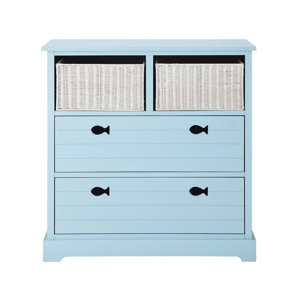 Wooden child 39 s chest of drawers in blue w 90cm marin for Maison de monde uk