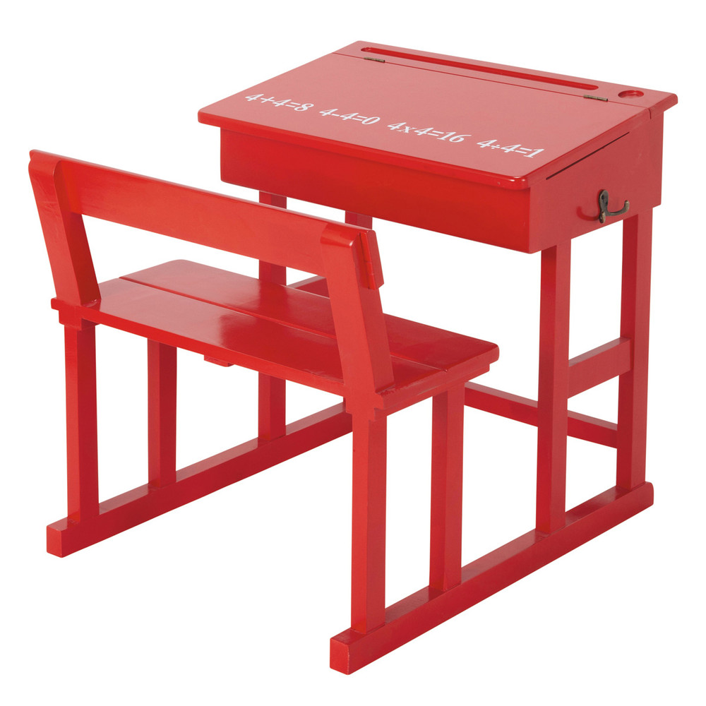 Wooden child 39 s desk in red w 65cm pupitre maisons du monde for Maison de monde uk