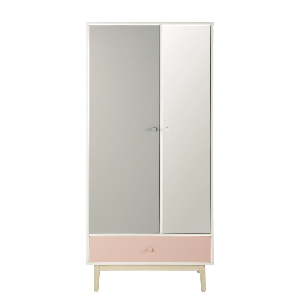 Wooden closet with mirror in white w 90cm blush maisons for Maison de monde uk
