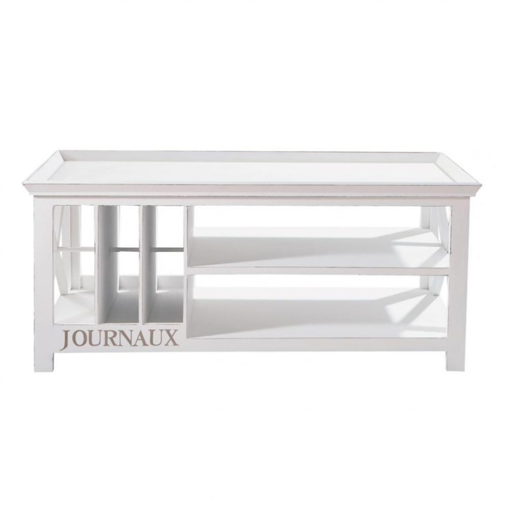 wooden coffee table in white w 108cm newport maisons du monde. Black Bedroom Furniture Sets. Home Design Ideas