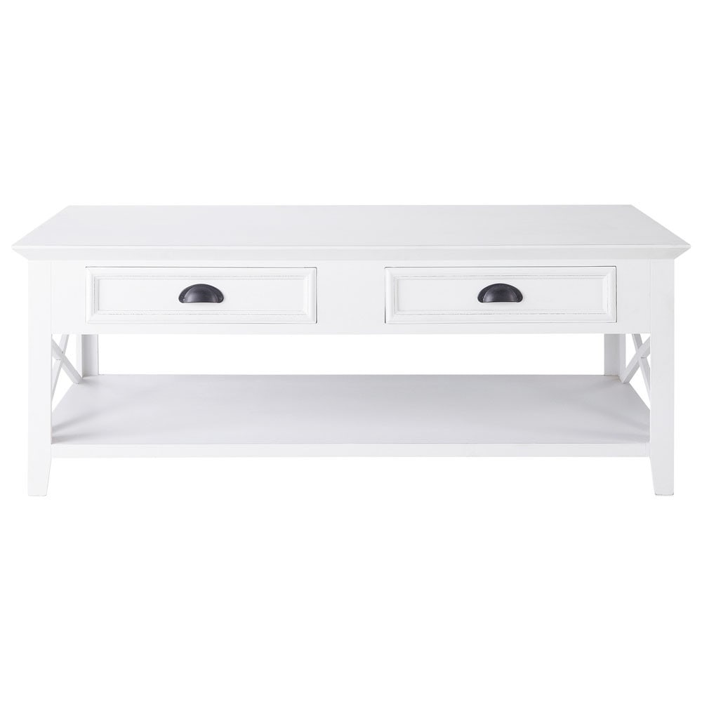 Wooden Coffee Table White W 120cm Newport Maisons Du Monde