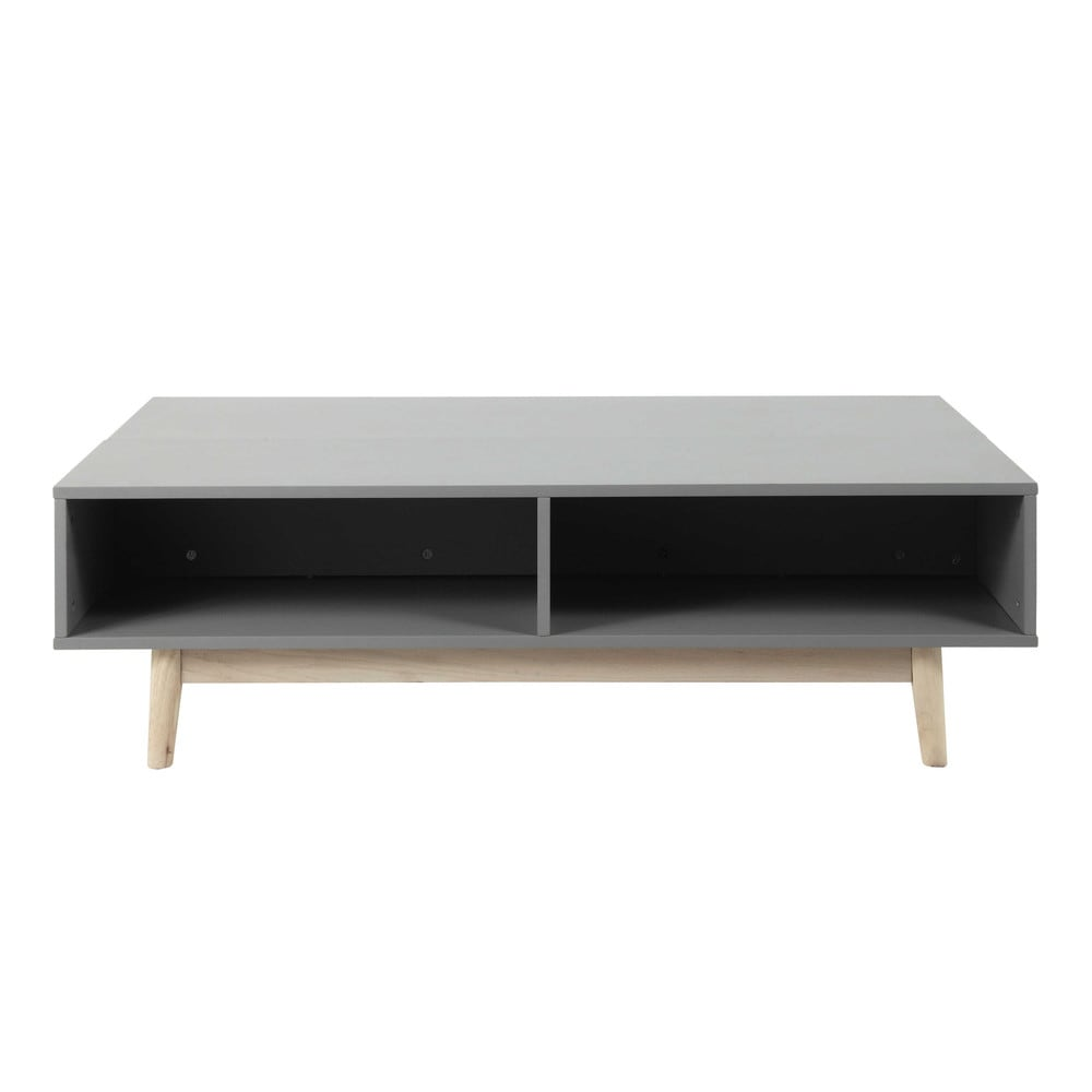 Wooden Coffee Table With Storage In Grey W 120cm Artic Maisons Du Monde