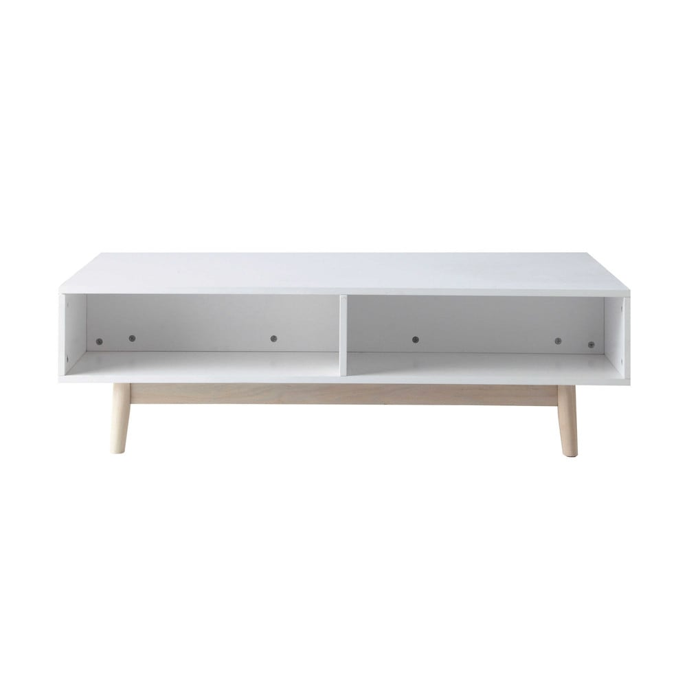 Wooden Coffee Table With Storage In White W 120cm Artic Maisons Du Monde