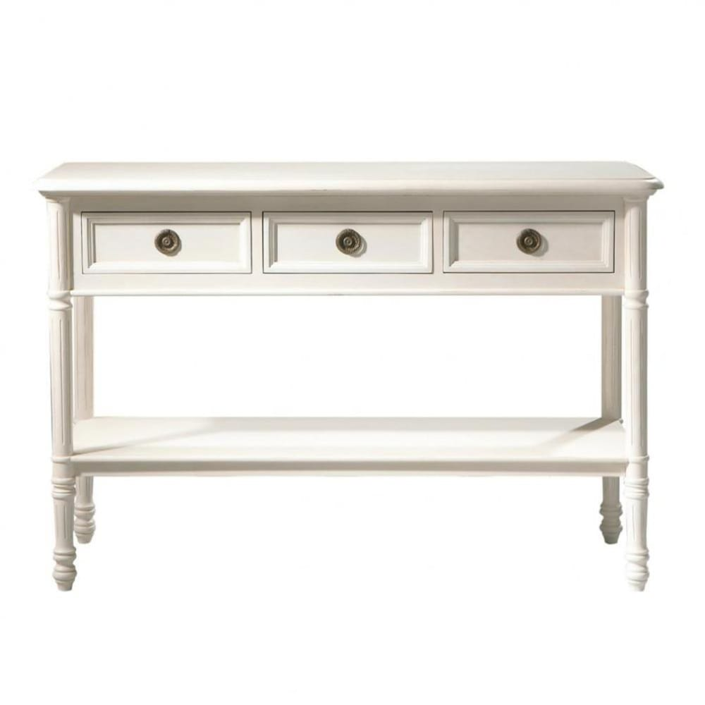 wooden console table in ivory w 120cm gustavia maisons du monde. Black Bedroom Furniture Sets. Home Design Ideas