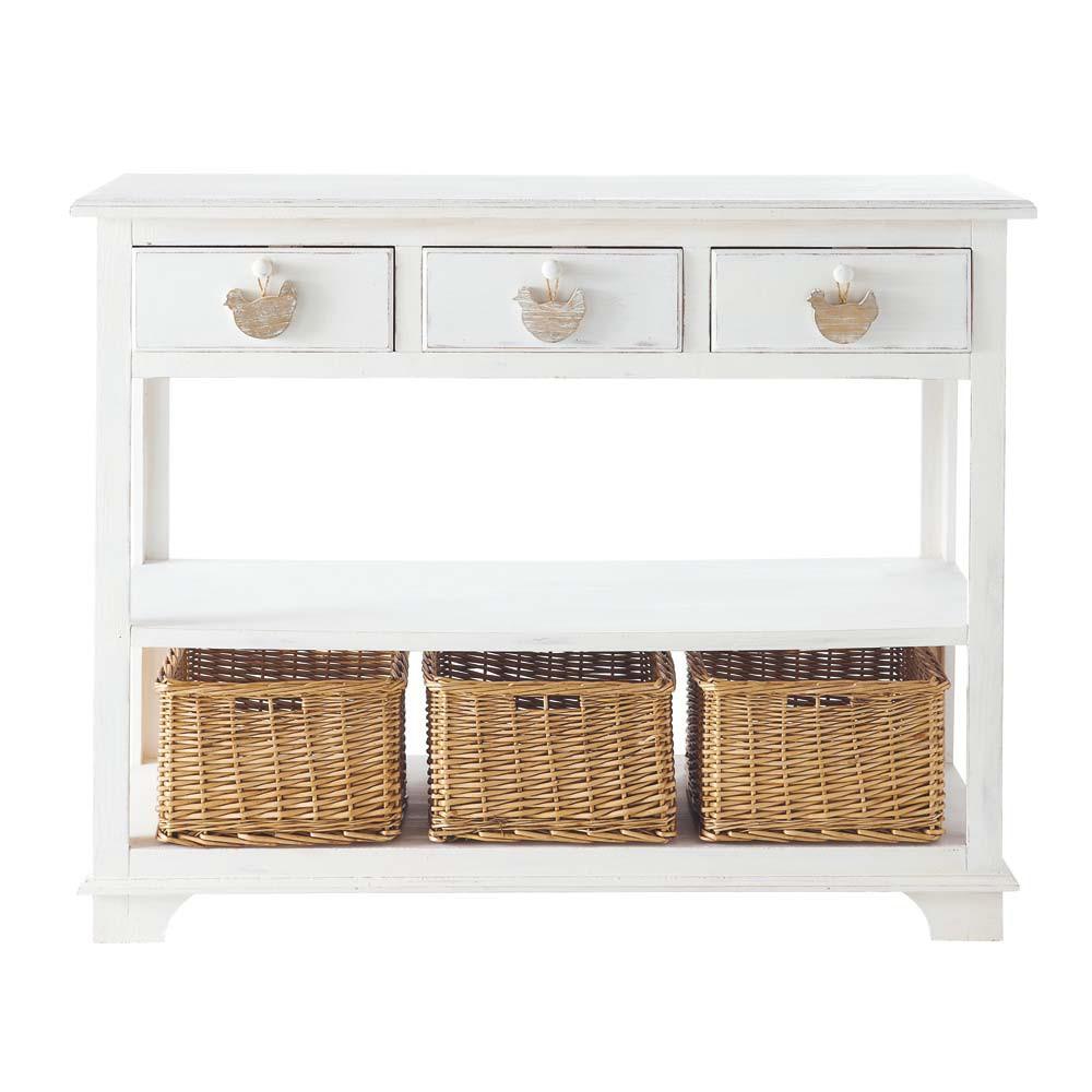 wooden console table in white w 108cm basse cour maisons du monde
