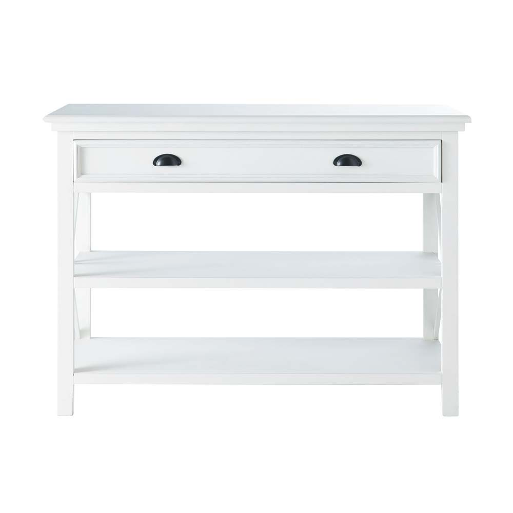 wooden console table white l 120 cm newport maisons du monde. Black Bedroom Furniture Sets. Home Design Ideas