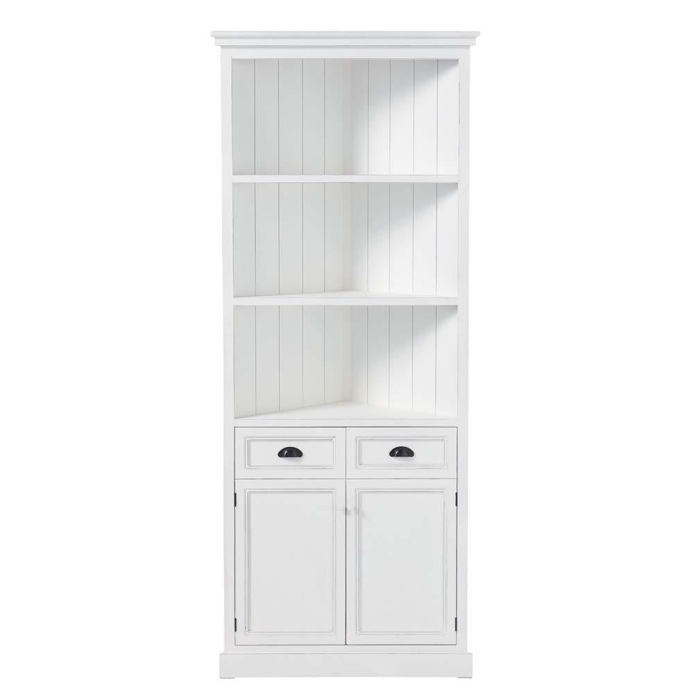 wooden corner unit in white w 84cm newport maisons du monde. Black Bedroom Furniture Sets. Home Design Ideas
