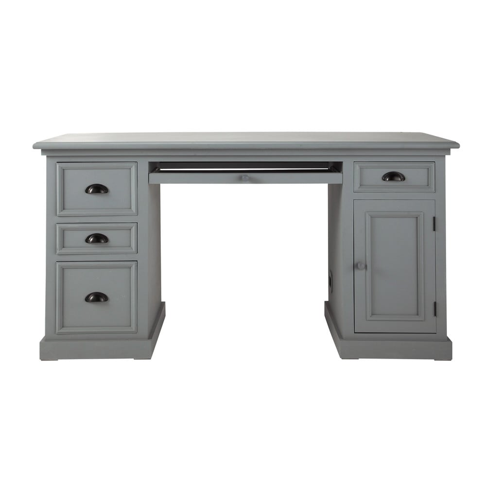 Wooden desk in grey w 150cm newport maisons du monde - Maison du monde escritorios ...