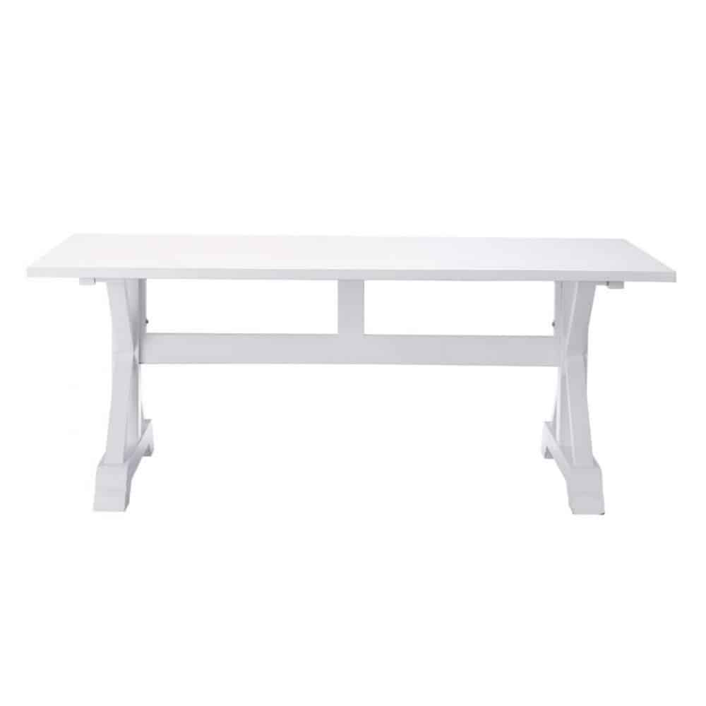 Wooden Dining Table In White W 200cm Atlantique Maisons