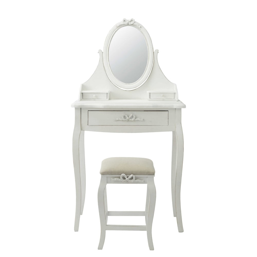 Wooden dressing table and stool in white w 70cm charlotte - Petite table maison du monde ...