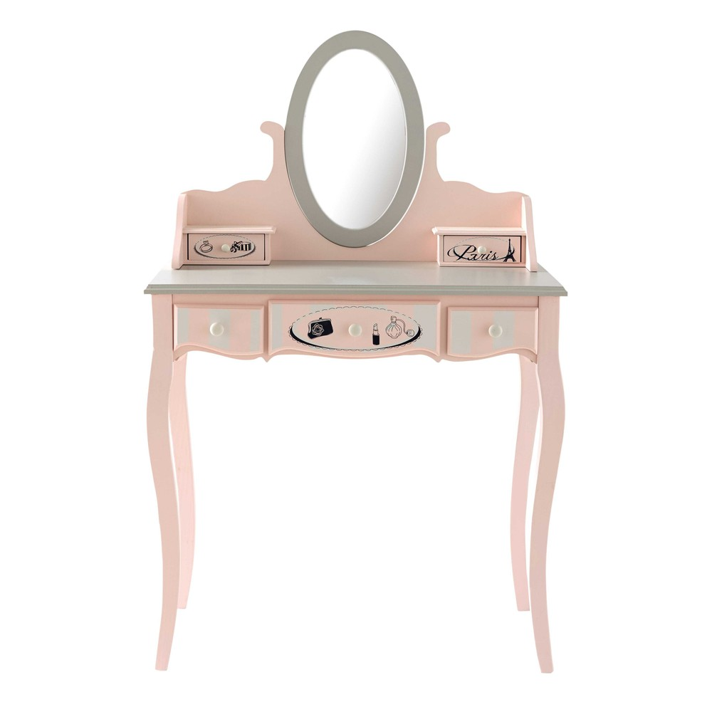 wooden dressing table in pink w 82cm paris mode maisons du monde. Black Bedroom Furniture Sets. Home Design Ideas