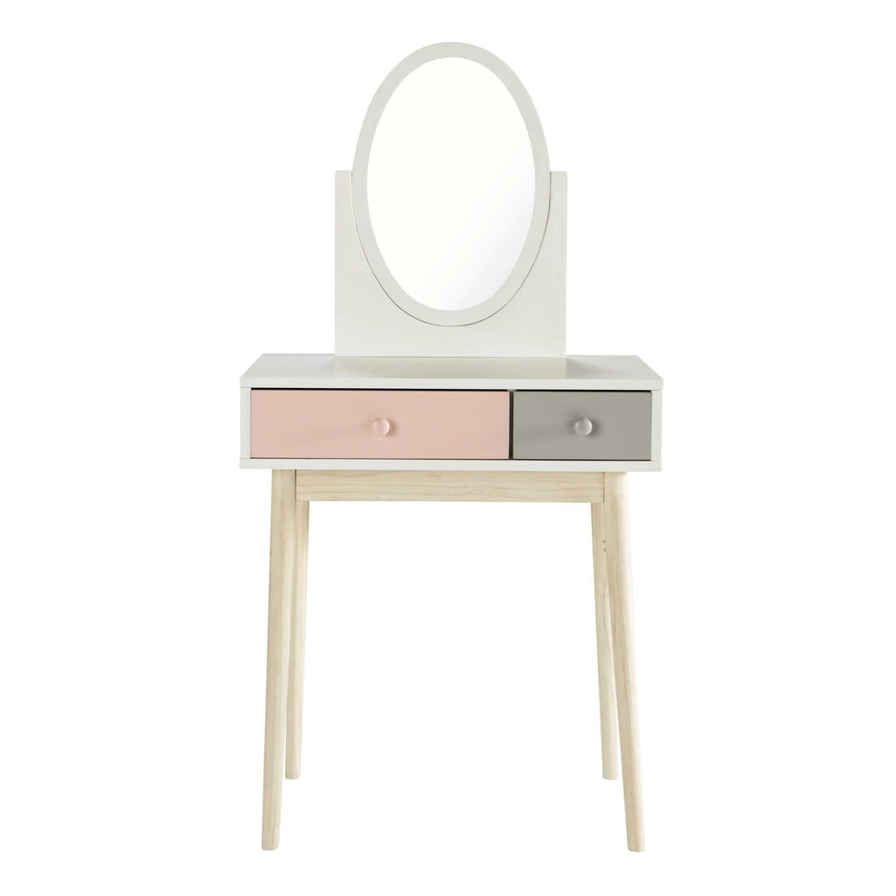 Wooden dressing table in white and pink w cm blush