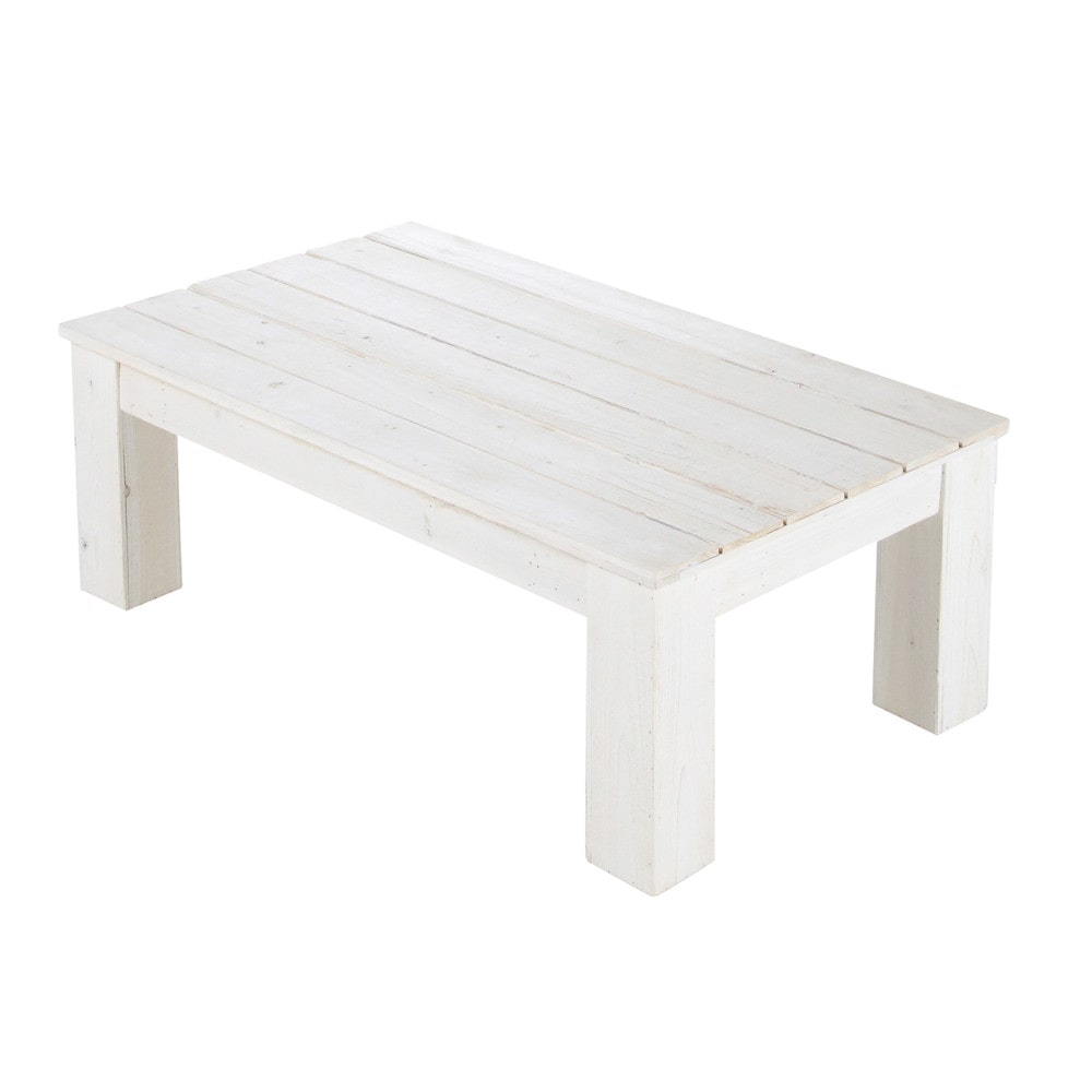 Wooden garden coffee table in white w 100cm faro maisons du monde - Petite table basse rectangulaire ...