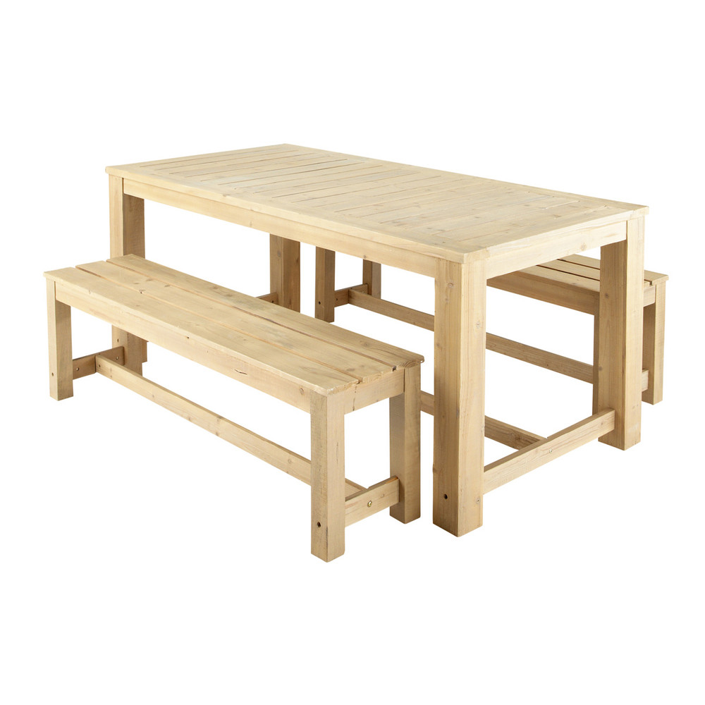 Wooden garden table 2 benches w 180cm br hat maisons for Table 180 cm