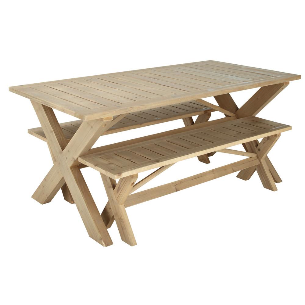 wooden garden table 2 benches w 180cm lacanau maisons du monde. Black Bedroom Furniture Sets. Home Design Ideas