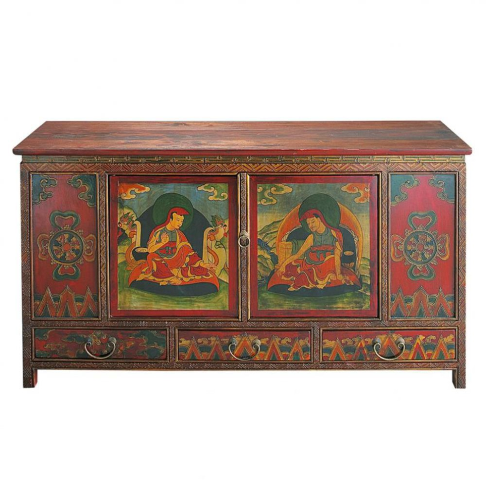 Wooden indian cabinet multicoloured w 120cm lhasa for Maison du monde yt