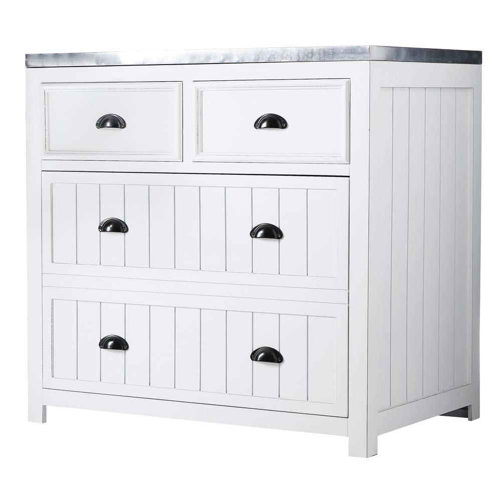 Cuisine Element: Wooden Kitchen Base Unit In White W 90cm Newport