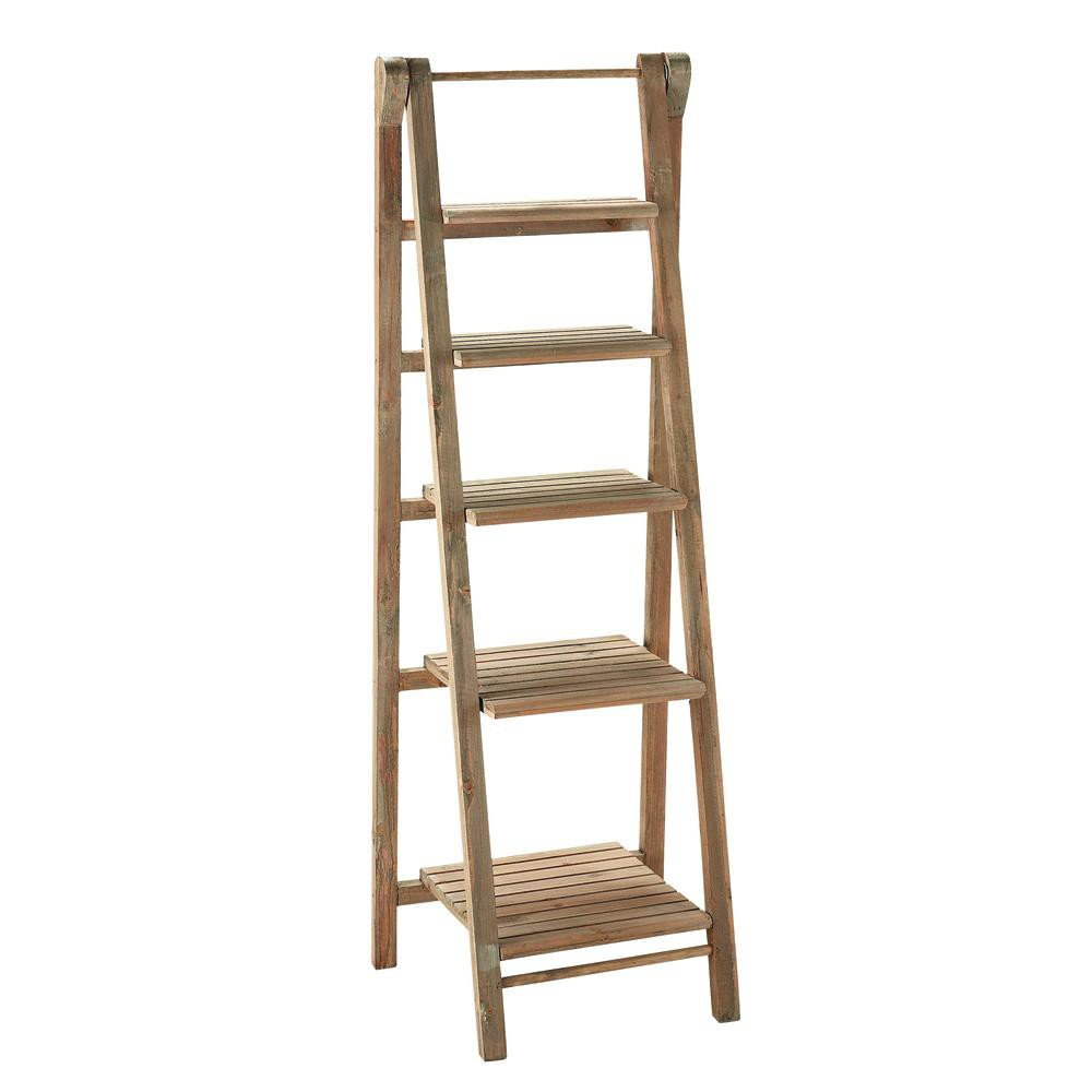 Wooden Ladder Shelf ~ Wooden ladder shelf unit w cm freeport maisons du monde