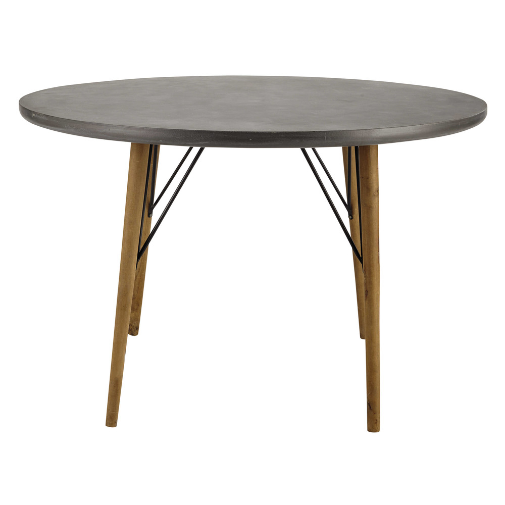 wooden round dining table d 120cm cleveland maisons du monde