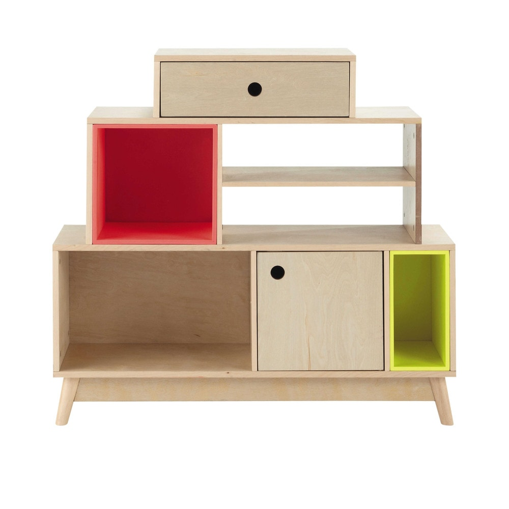 Wooden shelf unit with removable compartments w 100cm - Etagere maison du monde ...