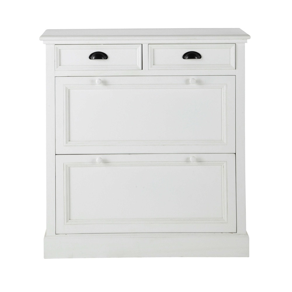 Wooden shoe cabinet white w 90cm newport newport - Meuble d entree maison du monde ...