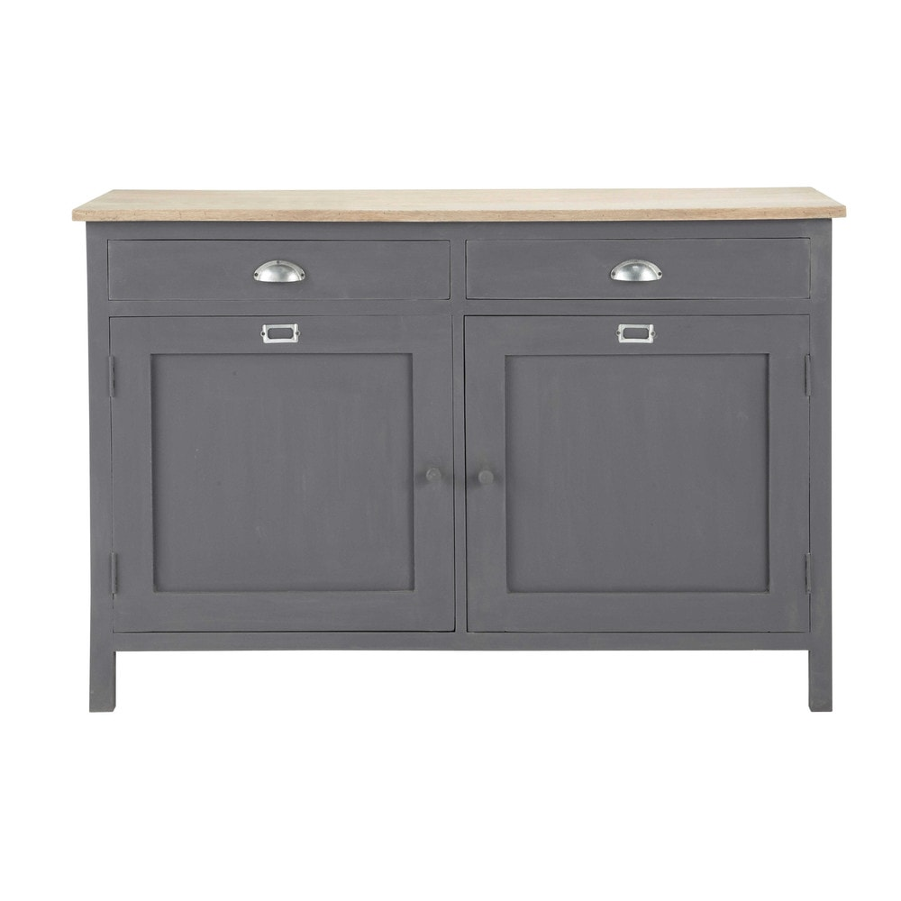 Wooden Sideboard In Grey W 125cm Chablis Maisons Du Monde