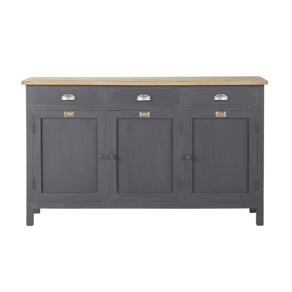 Wooden Sideboard In Grey W 138cm Chablis Maisons Du Monde