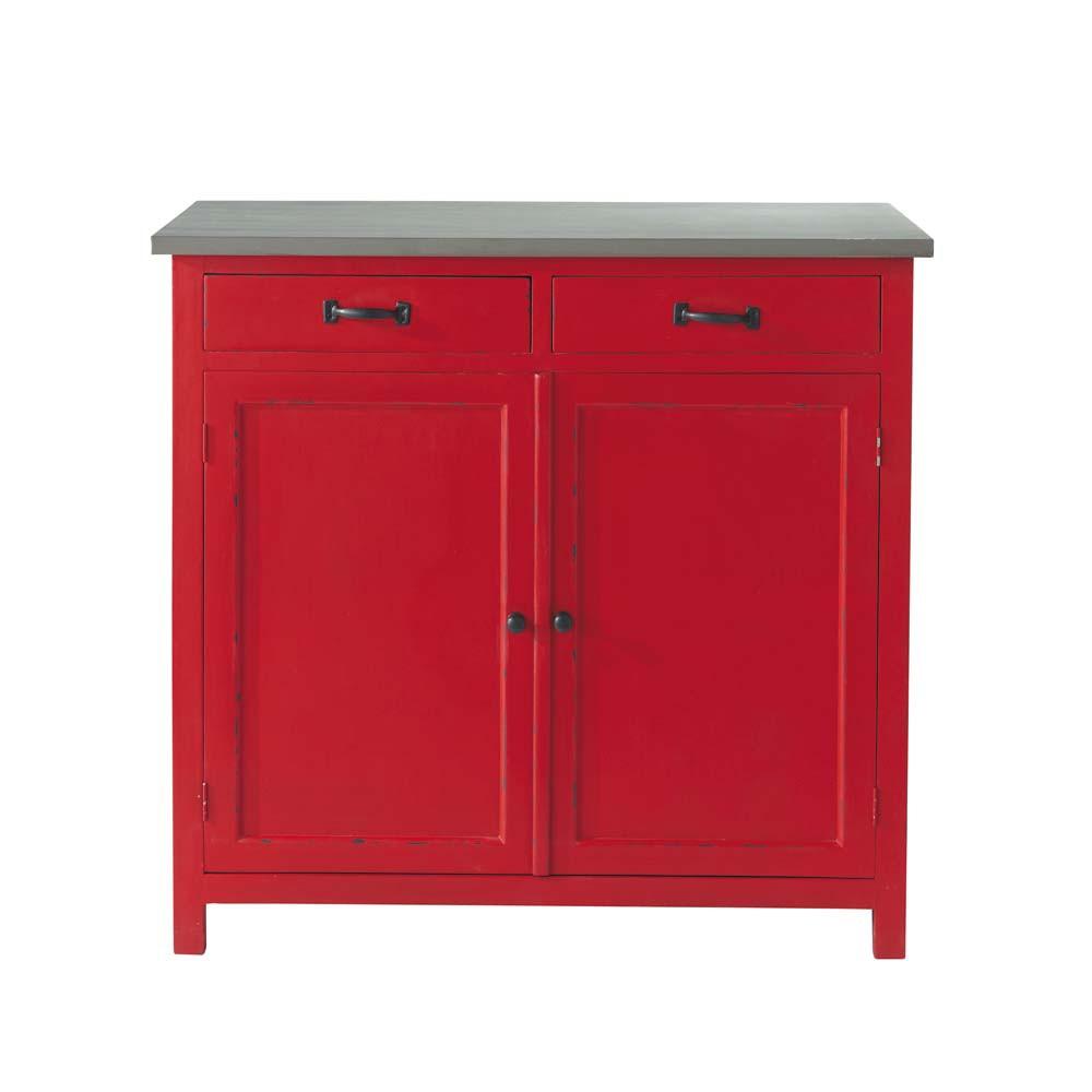 wooden sideboard in red w 90cm cerise maisons du monde. Black Bedroom Furniture Sets. Home Design Ideas