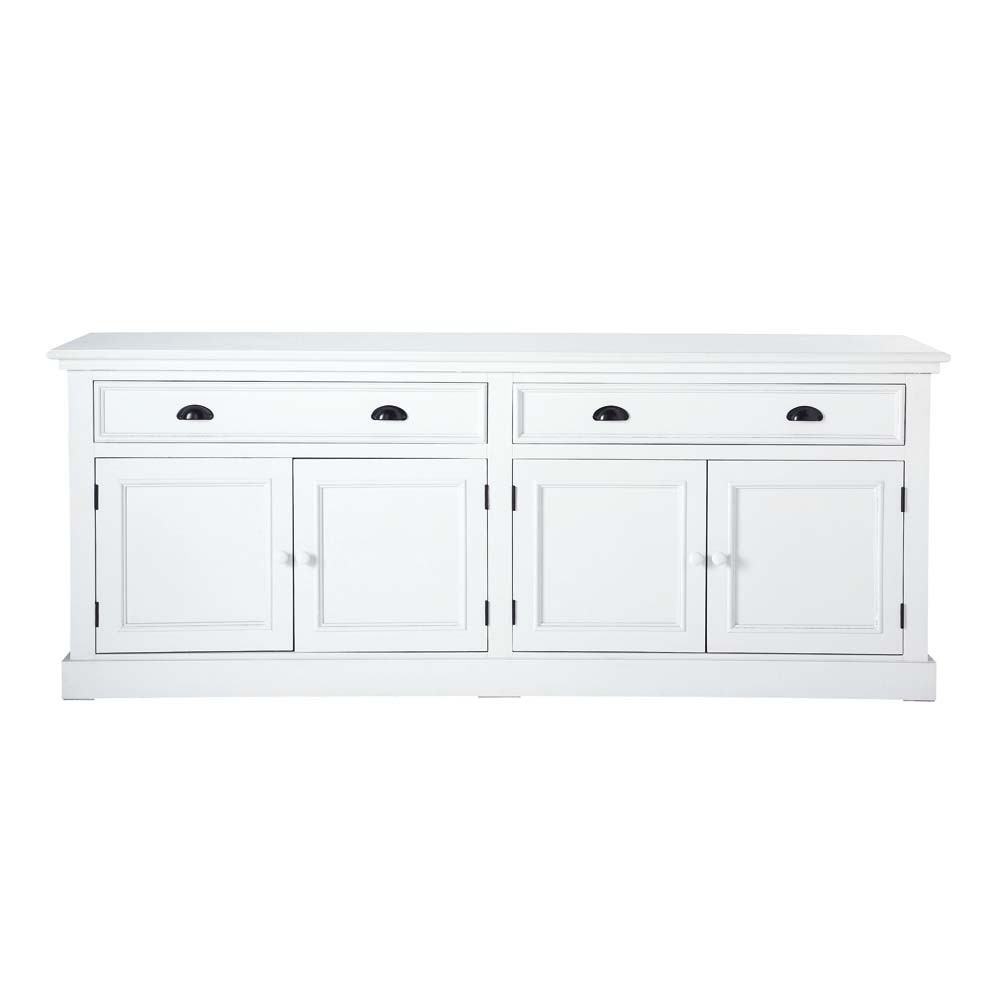 wooden sideboard in white w 200cm newport maisons du monde. Black Bedroom Furniture Sets. Home Design Ideas