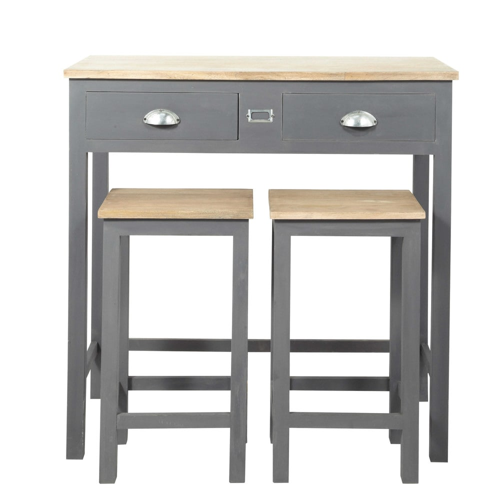 Wooden Tall Dining Table + 2 Stools W 90cm