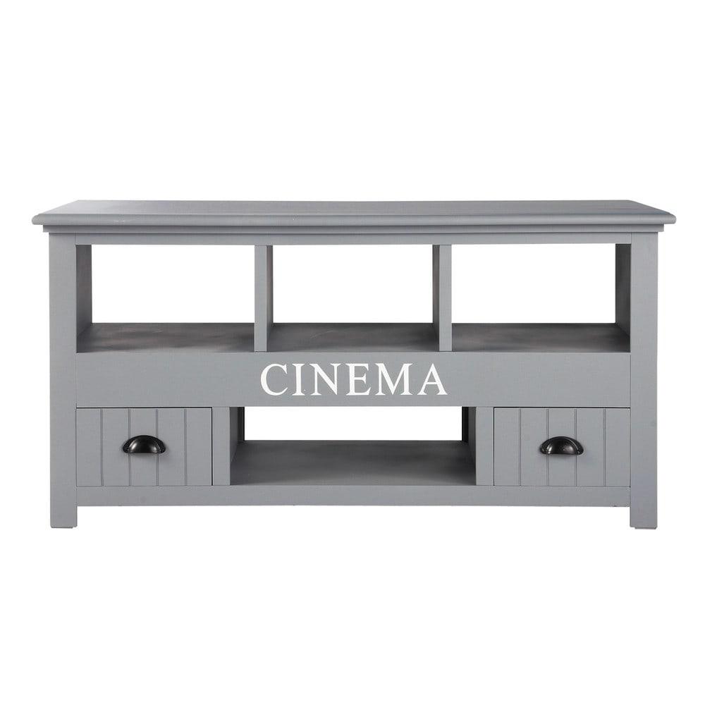wooden tv unit in grey w 120cm newport maisons du monde. Black Bedroom Furniture Sets. Home Design Ideas