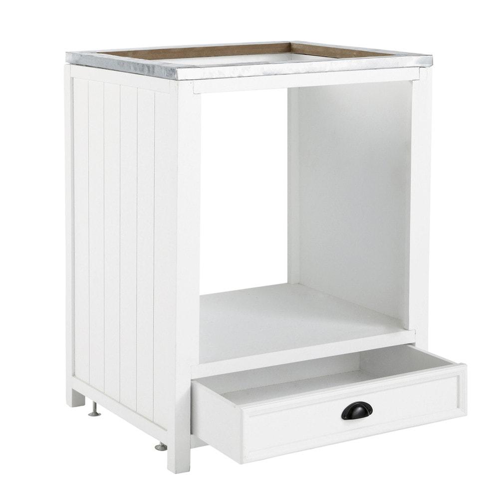 Wooden under oven kitchen base unit in white w 70cm for White kitchen base units