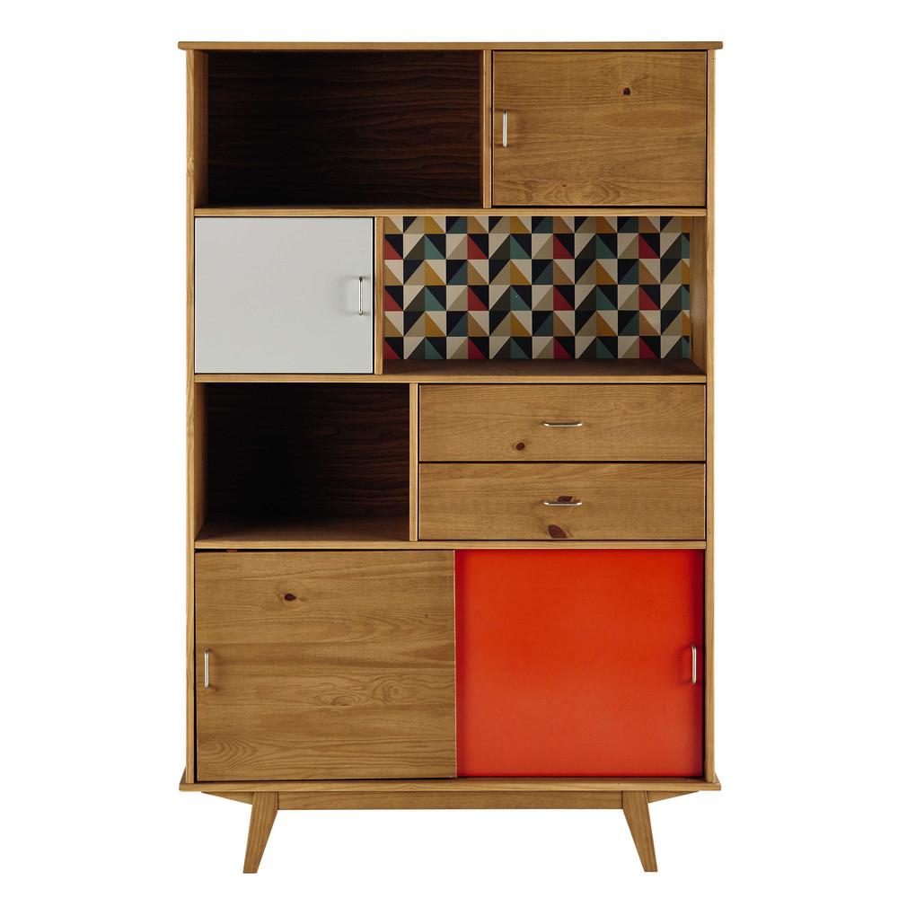 wooden vintage bookcase in grey orange w 116cm paulette maisons du monde. Black Bedroom Furniture Sets. Home Design Ideas