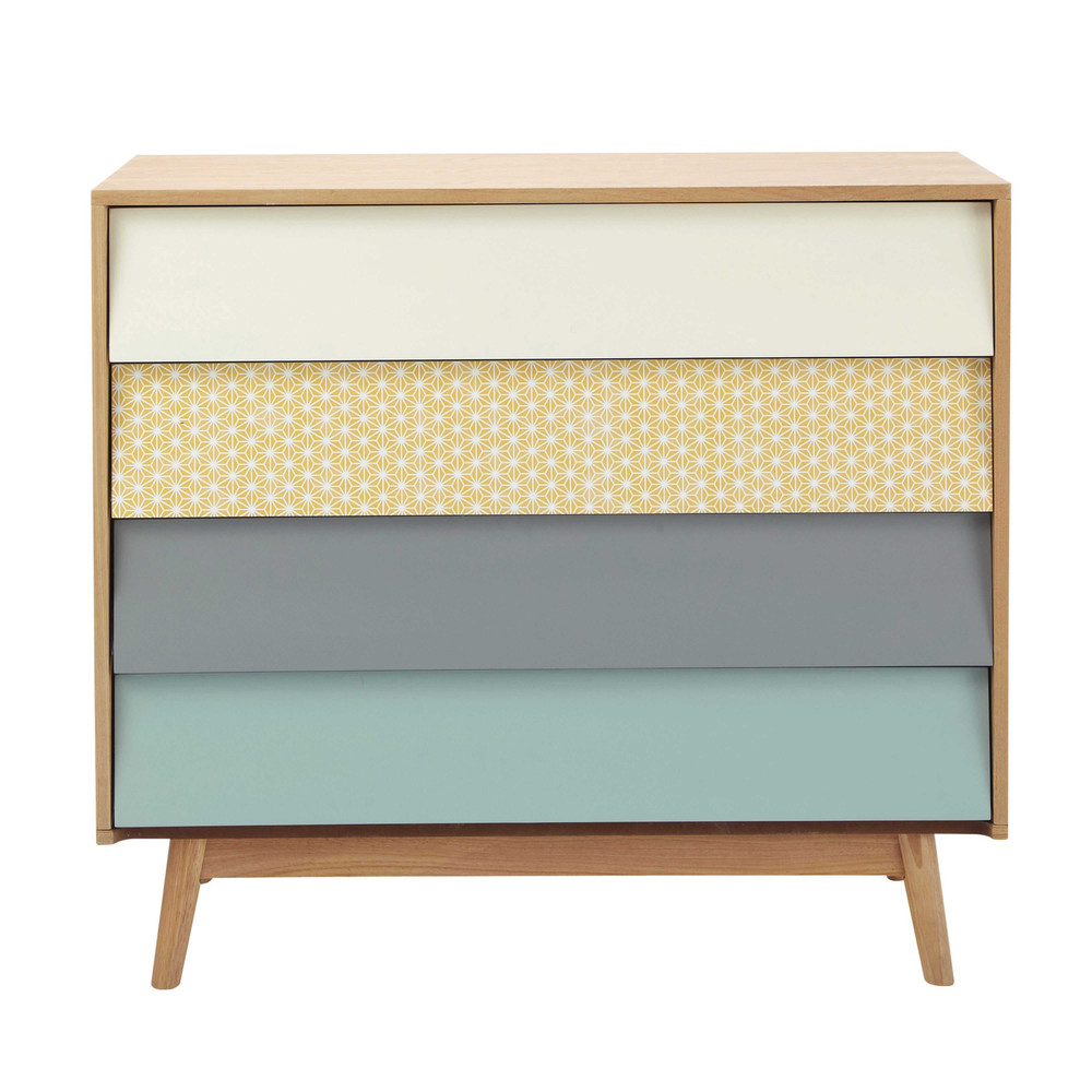 Wooden vintage chest of drawers multicoloured w 90cm for Maison de monde uk