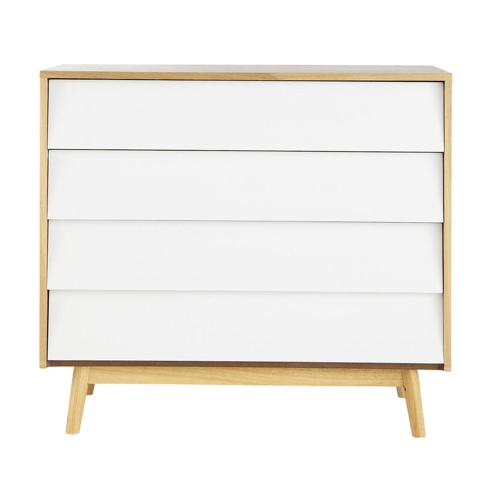 wooden vintage chest of drawers w 90cm white fjord maisons du monde