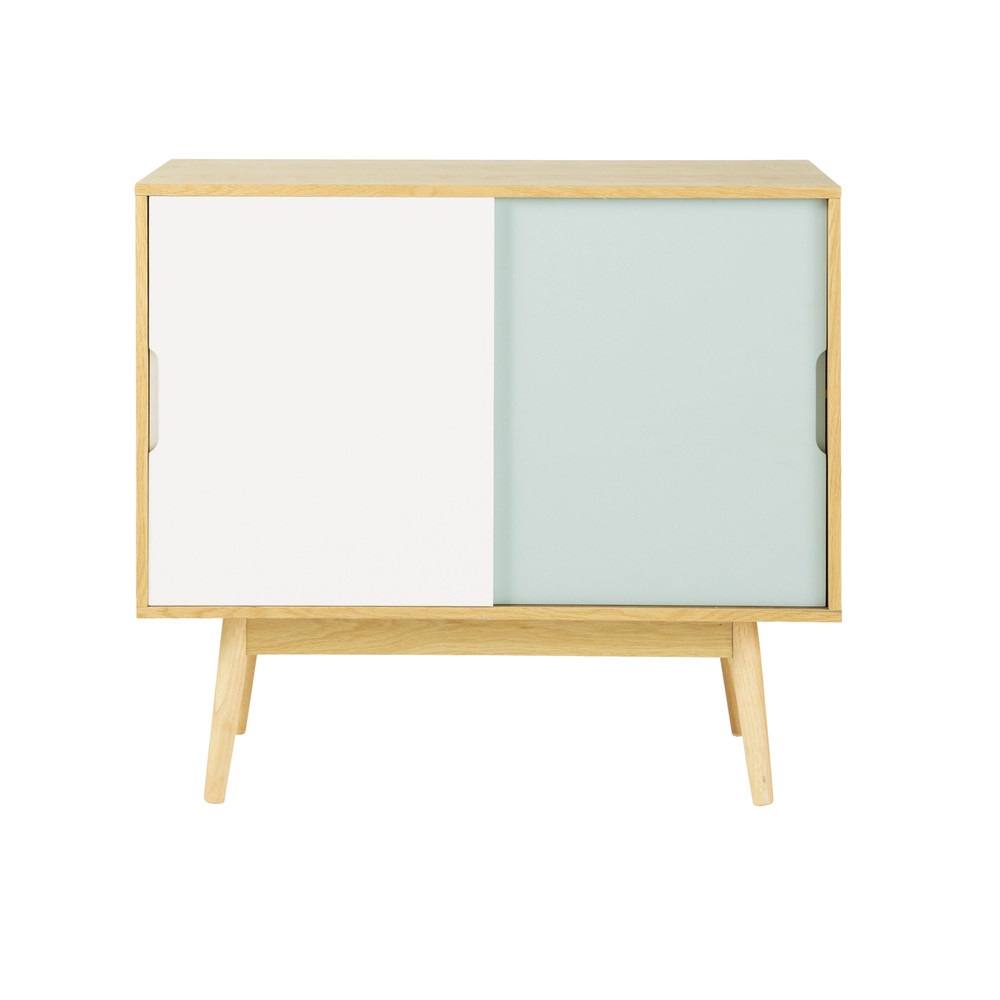 Wooden vintage sideboard in white and blue w 90cm fjord - Buffet vintage maison du monde ...