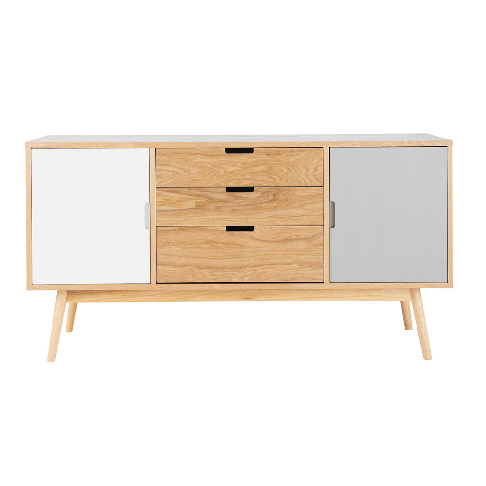 wooden vintage sideboard in white and grey w 145cm fjord. Black Bedroom Furniture Sets. Home Design Ideas