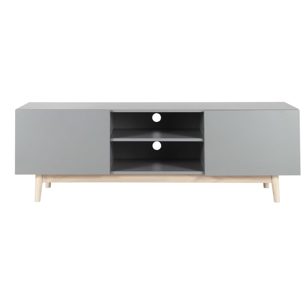wooden vintage tv unit in grey w 150cm artic maisons du. Black Bedroom Furniture Sets. Home Design Ideas