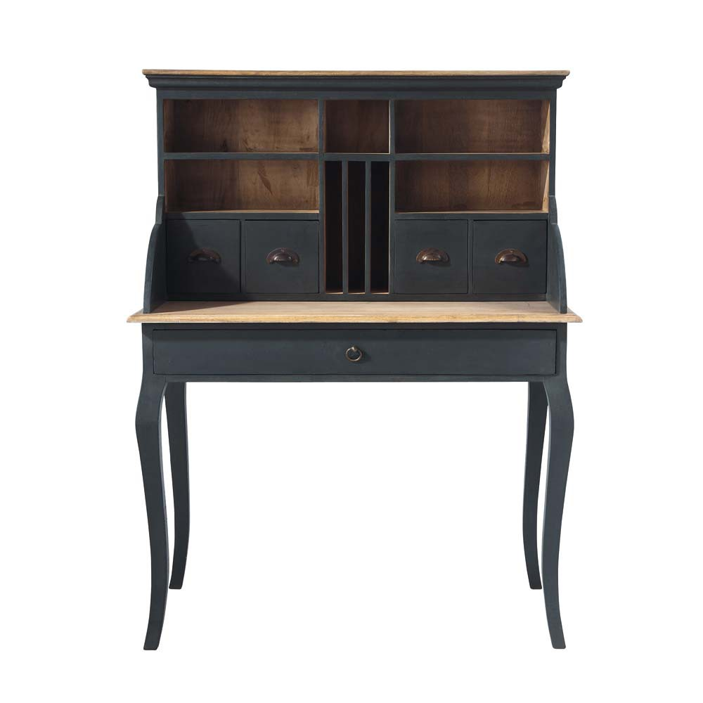 wooden writing desk in black w 102cm chenonceau maisons du monde. Black Bedroom Furniture Sets. Home Design Ideas