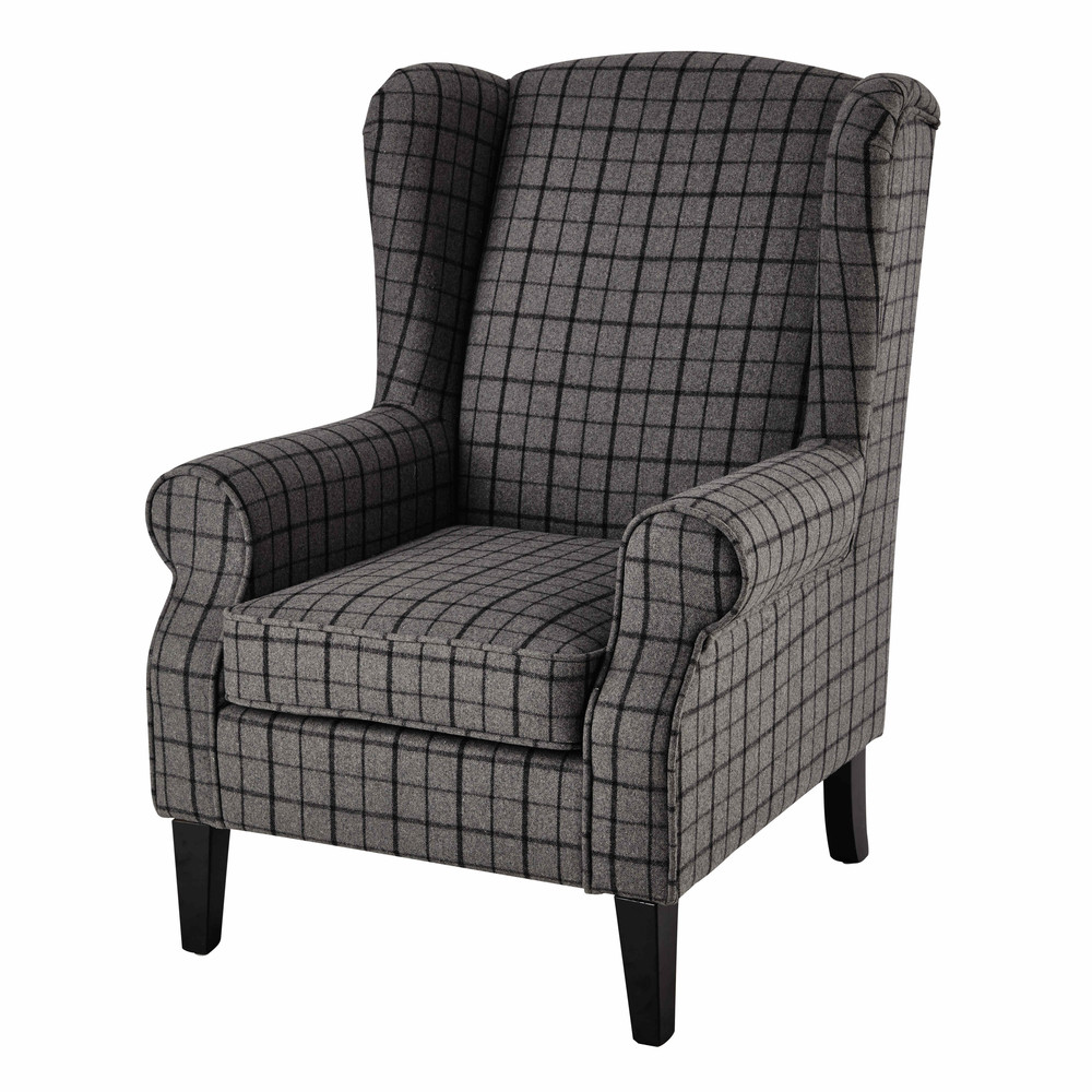 Wool armchair in grey check scotland maisons du monde - Sillones maison du monde ...