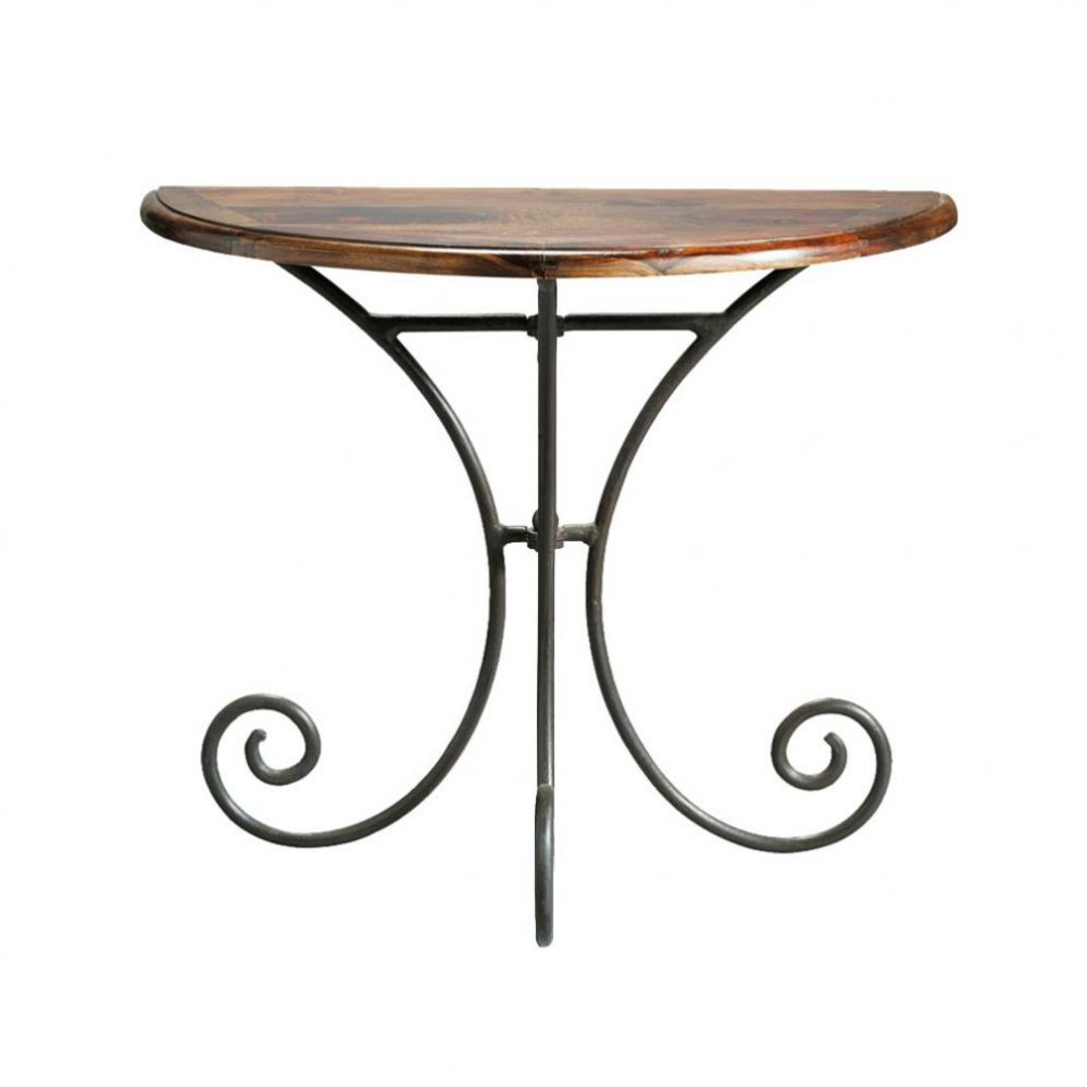 Wrought iron and solid sheesham wood half-moon console table W ...