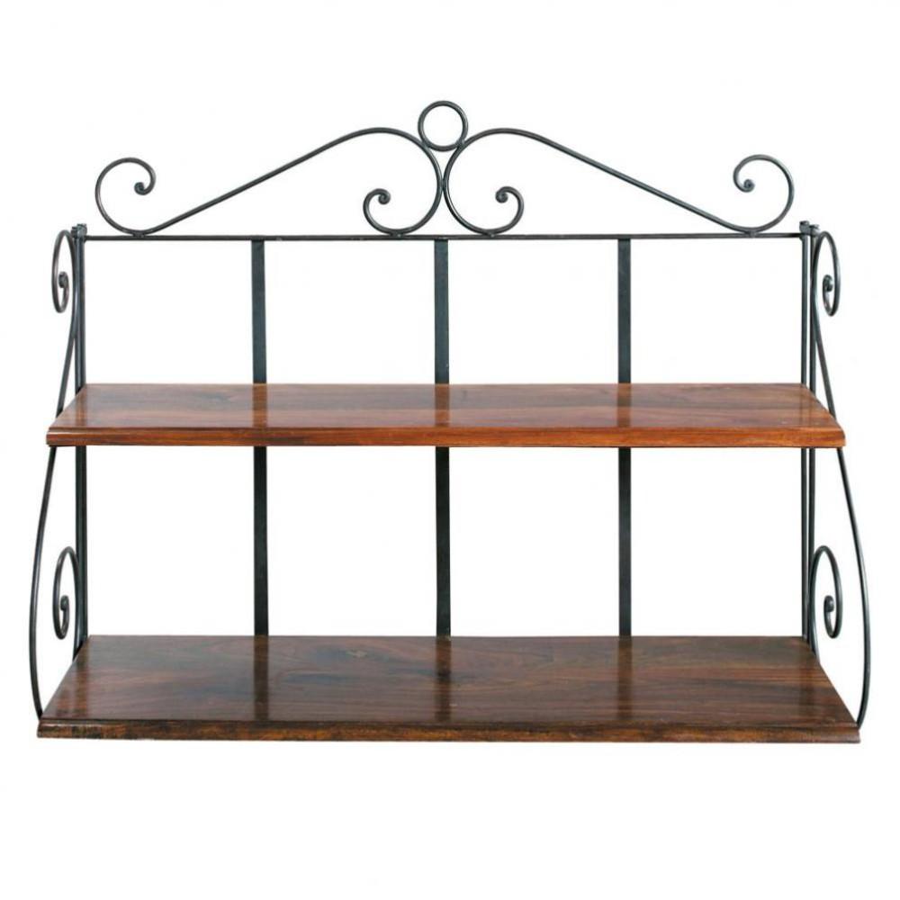 wrought iron wall shelf unit w 100cm lub ron maisons du monde. Black Bedroom Furniture Sets. Home Design Ideas