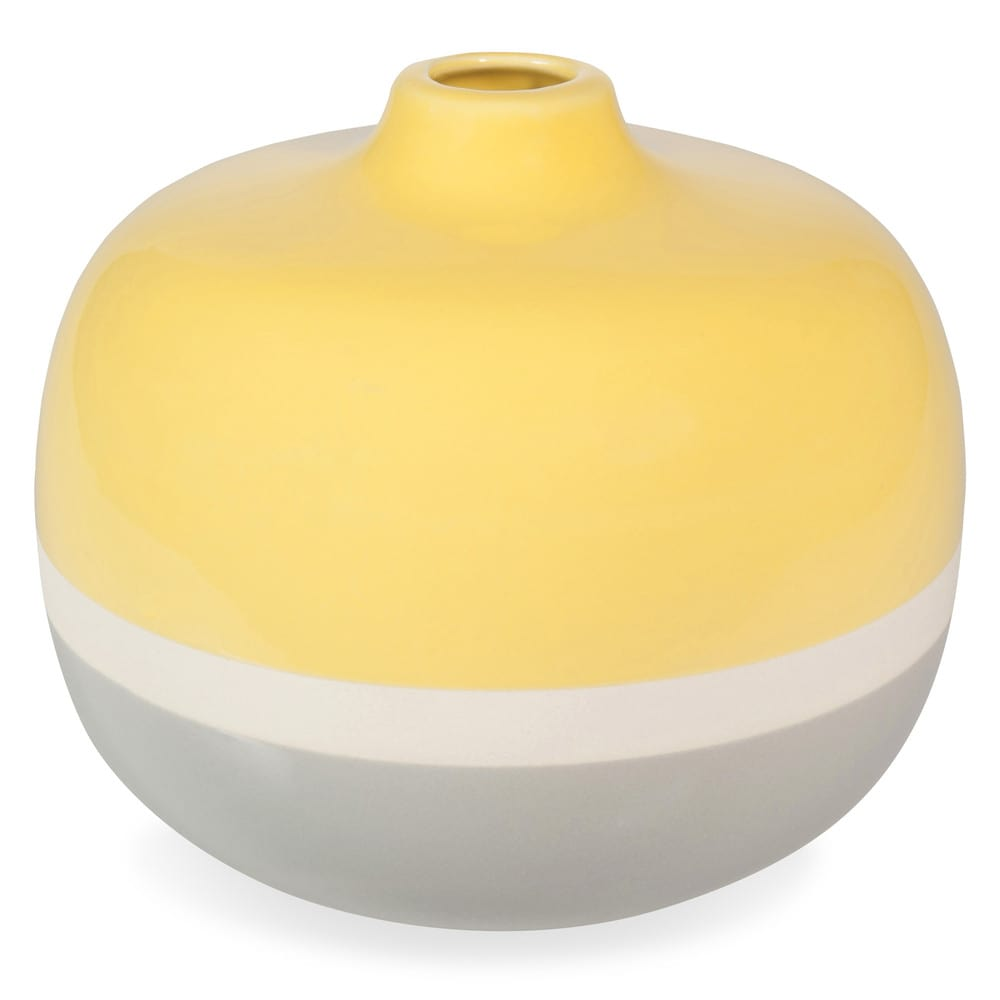 yellow ball stoneware vase yellow grey h 18 cm maisons du monde. Black Bedroom Furniture Sets. Home Design Ideas
