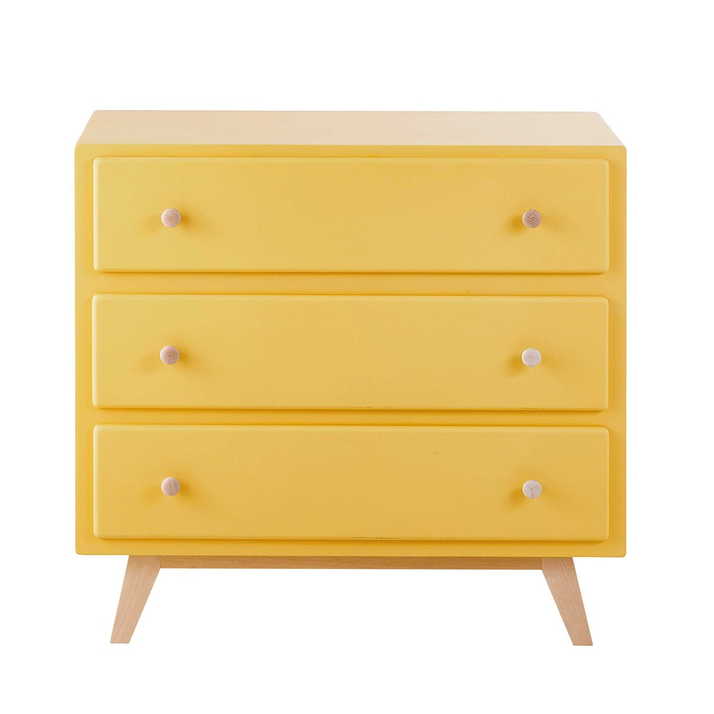 Yellow Wooden Chest Of Drawers L 85 Cm Sweet Maisons Du