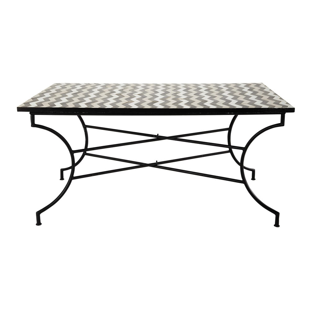 zellige tile dining table w 160cm zelie maisons du monde. Black Bedroom Furniture Sets. Home Design Ideas
