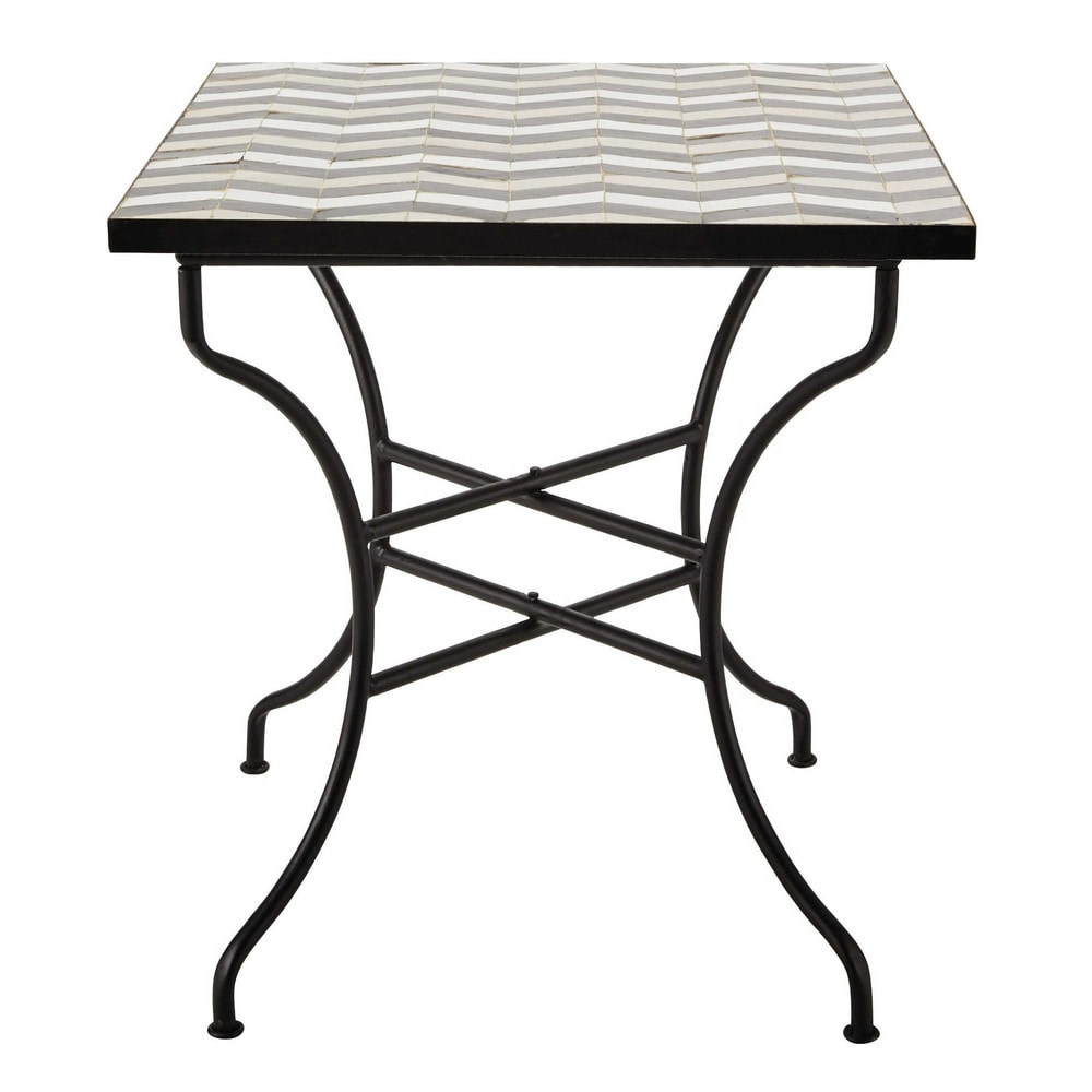zellige tile square dining table w 70cm zelie maisons du. Black Bedroom Furniture Sets. Home Design Ideas