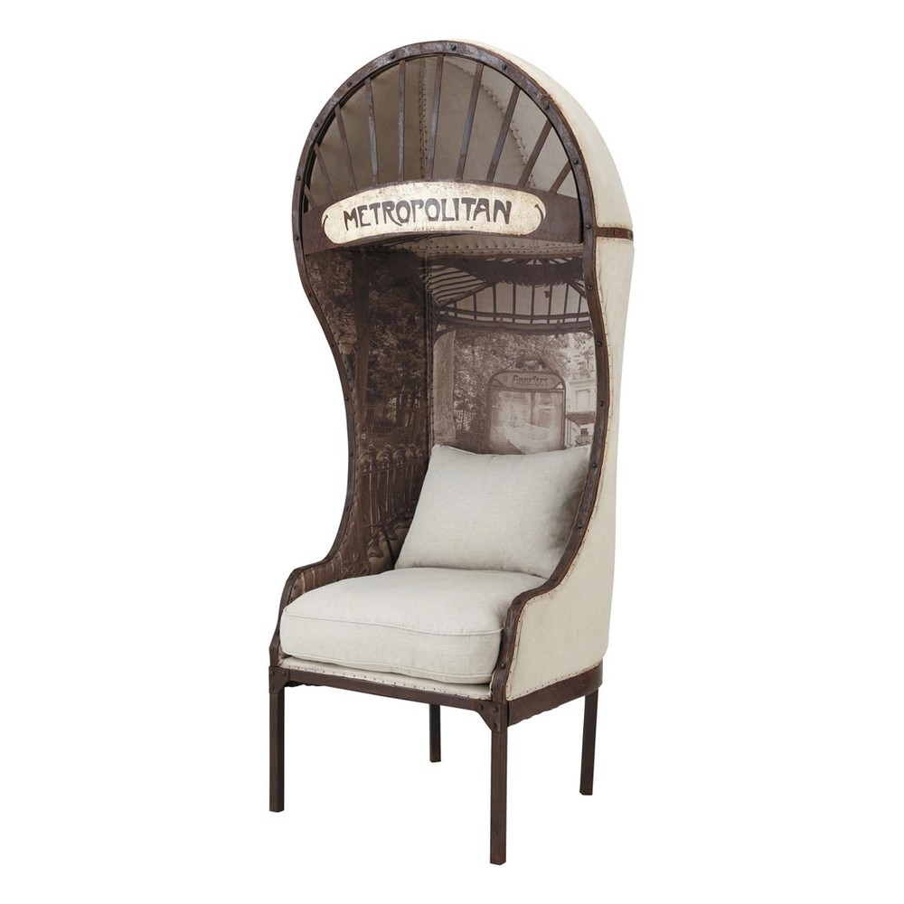 zetel in metaal en linnen carrosse carrosse maisons du monde. Black Bedroom Furniture Sets. Home Design Ideas
