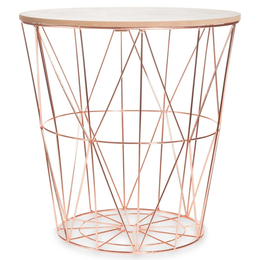 Zigzag copper metal side table d40cm maisons du monde for Accessoire deco table