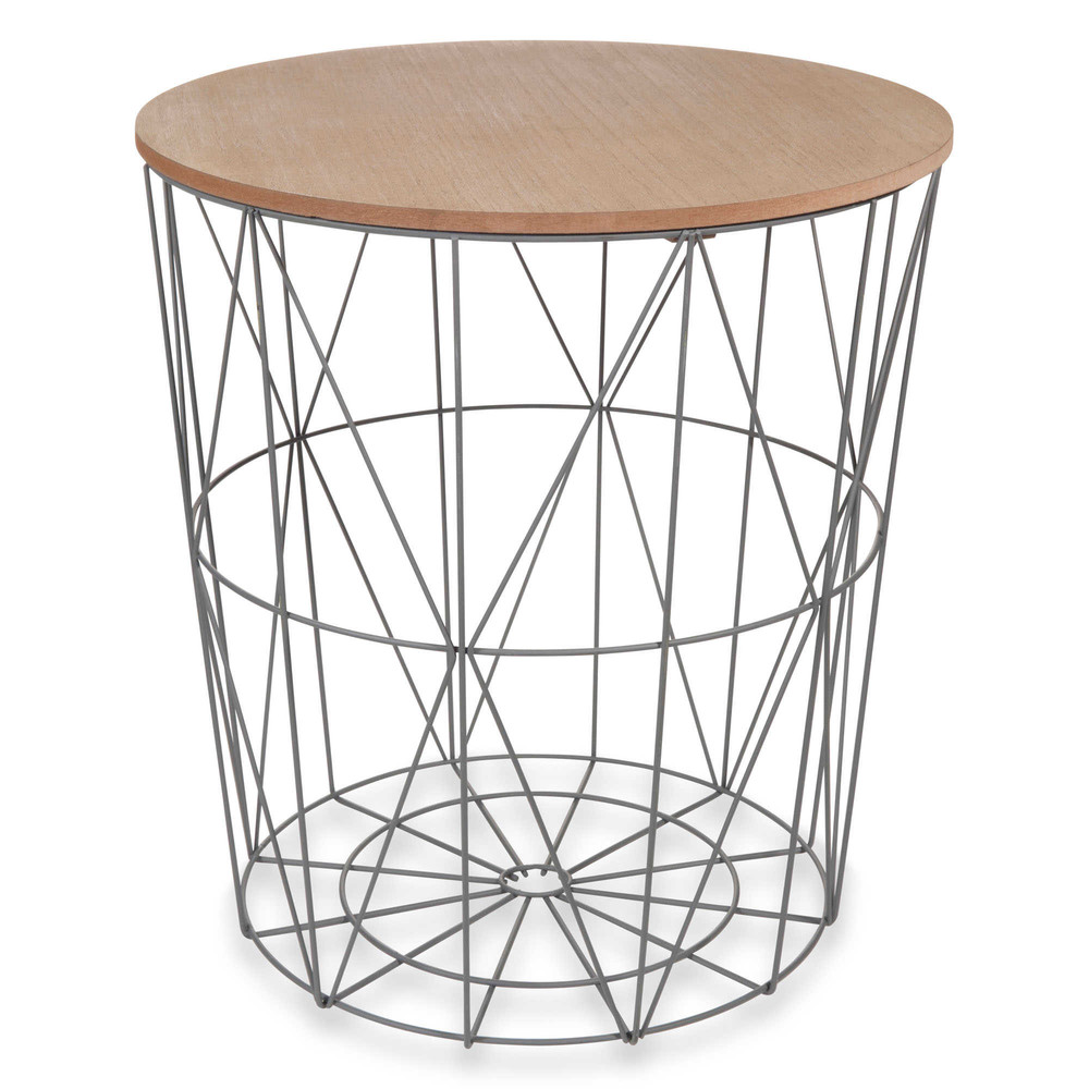 zigzag grey metal side table d40cm maisons du monde. Black Bedroom Furniture Sets. Home Design Ideas